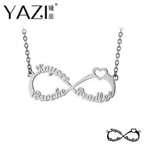 YAZI Personifizieren Sie Unendlichkeits-Halskette mit drei Namen Familien-Namen-Halsketten-Goldfarbe-kupfernem kundenspezifischem hängendem Gedächtnis-Geschenk für Familie