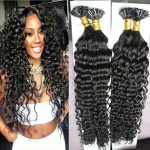 U Tip Extensión del cabello humano rizado rizado 200g 200s Cápsulas de Queratina Fusión Humano Uña Del Pelo U Tip Máquina Hecho Remy Pre Bonded Hair Extension