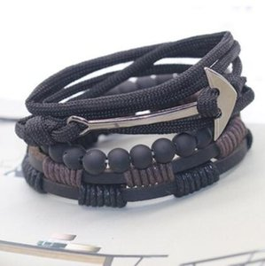 designer jewelry bracelets beaded for men fishhook boat anchor leather double-deck bracelets hot fashion free of shipping