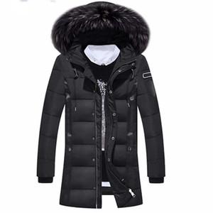 Chaqueta de invierno para hombre Warm Slim 70% Chaqueta de pluma blanca de pato Mapache Fur Collar Jaquetas Masculina Inverno