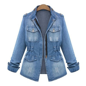 Russland Frühling Herbst neue edle Sterne Dame Street Denim Jacken blau Patchwork Taschen Buttons Hochwertige Baumwolle Pullover mit Stehkragen