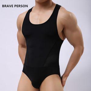 Al por mayor-BRAVE PERSONA marca undershirt ropa interior spandex sexy tank tops hombres body undershirt jumpsuit shorts