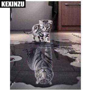 Chegada nova DIY 5D Diamante Pintura Ponto Cruz Quadrado Mosaico Diamante Bordado Cats tigres Padrões Needlework Pinturas de Strass