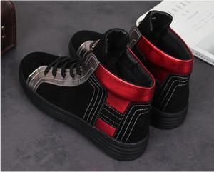 2020 Yeni stil Moda Superstar Yüksek Top Mens Sneakers Ayakkabı Casual Perçin Flats Erkek Eğitmenler Lace Up Ankle Boots Spiked Ayakkabı J94
