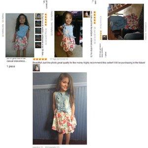 Baby Girl Dress 2018 Summer Children sin mangas Denim Floral Dresses With Button Kids Princess Vestidos de verano para niñas