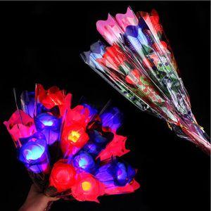 LED 라이트 업 장미 빛나는 실크 꽃 생일 파티 용품 웨딩 장식 발렌타인 데이 할로윈 가짜 꽃