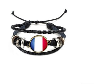 Hot World Cup 2018 National Wristband Flags Braccialetto Charm Braccialetti Pelle intrecciata Corda Bracciale perline Polsino Donna Uomo Regalo Dropship