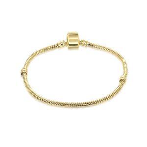 1 adet Drop Shipping Altın LOGO ile Bilezikler Yılan Zincir Fit pandora Bileklik Logo Altın Bilezik Kadınlar için Çocuk Hediye