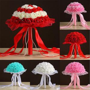 Nuevo diseño Crystal Lace Roses Dama de honor Ramo de novia Nupcial Flores artificiales de seda Maravilloso5 .09 / 30%