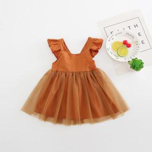 2018 Yaz Çocuklar Kızlar için Elbiseler Katı Dantelli Askı Backless Net Iplik Prenses Elbise Kolsuz Parti Elbise Butik Toddler Kız Giysileri