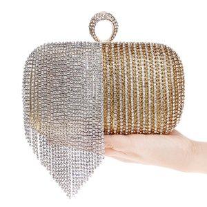 Patchwork Colorful Women Evening Bags Catena tracolla Messenger Borsa borsa nappa strass anello dito sera pochette