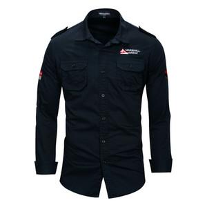 Erkek Pilot Gömlek Uzun Kollu Rahat Turn Aşağı Yaka MA1 Moda Gömlek Giyim Tops