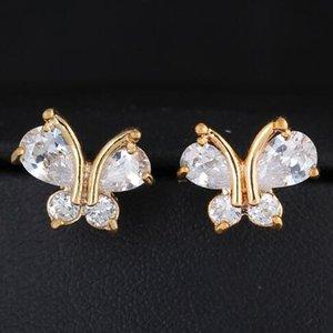 Tatlı sevimli hayvan Kelebek Küpe Moda Kadınlar Zirkon Kristal Stud Küpe Altın Kaplama Vintage Kore Takı boucle d'oreille