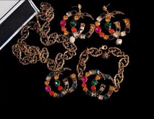 Famoso diseñador de la marca retro cristal broche pendientes retro collar de lujo pulsera marca multicolor rhinestone traje insignia aguja joyería acc