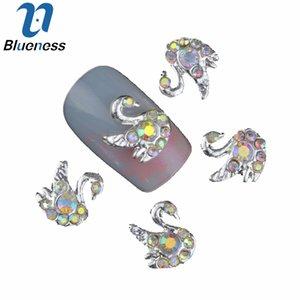 10 Teile / los 3D Schönheit Swan Design Stud Liefert Kristall AB Strass Für Maniküre DIY Charms Nail art Dekorationen TN925