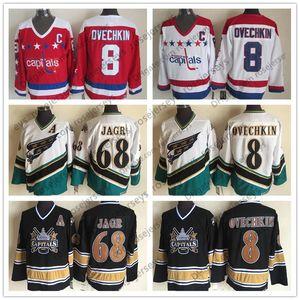 CCM Washington Capitals Jerseys # 8 ALEXANDER Ovechkin 68 Jaromir Jagr 2000 Vintage 2005 Retro Cheap Caps Hockey Navy Red Third White Alex