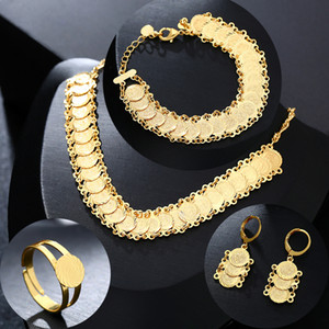 New Classic Arab Coin Jewelry sets Gold Color Necklace & Bracelet Earrings Ring Middle Eastern muslim Coin Accessories