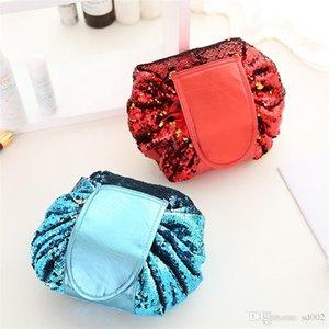 حقيبة التخزين 4 ألوان وجهين الترتر كسلان حقائب التجميل سعة كبيرة مع الرباط متعددة الوظائف السفر للماء 29yn الخامس