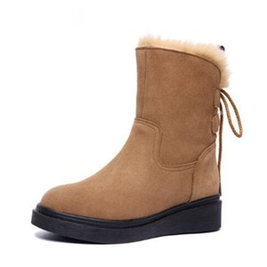 Hot 2018 New Winter Snow Boots Women Comfort Suede Genuine Leather Women Shoes Boots Large Size Soft Warm Cotton Boots Fashion Shoes Woman