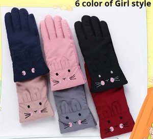Kids boy girl windproof Gloves for outdoor activities with fine embroidery or lovely prints and thick fleece for warm retention
