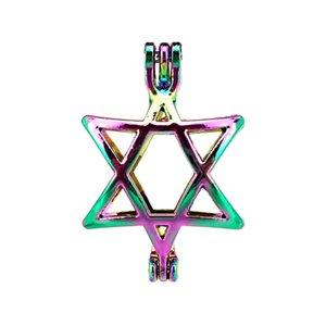 10 pçs / lote Rainbow Color Star Gaiola de Pérolas Gaiola Medalhão Pingente Difusor Difusor de Aromaterapia Óleos Essenciais Difusor Flutuante Pom