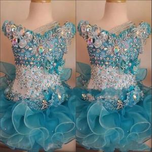 2018 Abiti da concorso cupcake per le bambine in rilievo del bambino Organza bambini carini brevi abiti da ballo infantile cristallo blu oceano festa di compleanno gonna