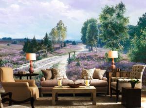 Personalize Pinturas 3D Mural Wallpaper Estrada paisagem pastoral pintura 3D Background Wallpaper decorativas