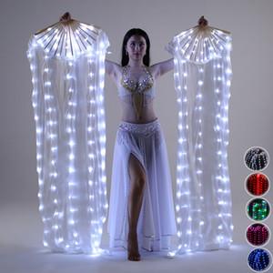 퍼포먼스 조명등 LED 팬 반짝 이는 Pleated 축제 카니발 댄스 의상 액세서리 Belly DanceFan EventParty Supplies