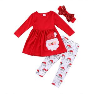 Date Noël Enfants Bébé Filles Vêtements santa claus manches longues Top Dress + Pantalons + Coiffure 3 pcs Tenues Bébé Vêtements Ensemble