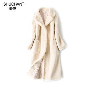 SHUCHAN Abrigo de lana femenina visón largo Turn-down Collar cubierto botón Office Lady Slim Park chaqueta femenina de invierno mujer kpl17013-1