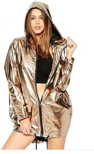 Couleur métallisée brillante Harajuku Bomber Veste Femme Mode Survêtement À Capuche Manteau Femme Zip up Manteau Imperméable
