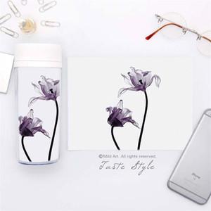 Persönlichkeit Diy Hand Tasse Originalität Portable Minimalismus Blumen Und Pflanzen Wasserflaschen Geschenk 300 ml Mode Kunststoff Drinkware 15qy ff