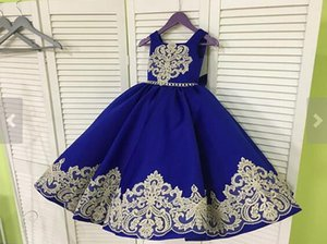 2018 Gold Lace Royal Blue Foto reali Girls Pageant Abiti Princess Wedding Party Damigella d'onore Flower Girl Dress Abito di pizzo satinato