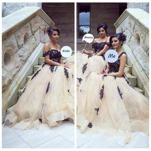 2021 Bella pizzo Appliques lunghi abiti da sposa araba Dubai Styles Una linea dalle spalle di Tulle lungo damigella d'onore Gowns