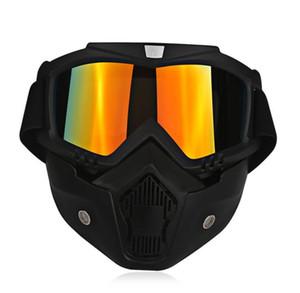 Ski Bike motocicleta mascarilla facial Motocross Motorbike Motor cara abierta desmontable gafas cascos Vintage Glasses Universal