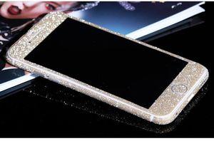 Scintillio Bling lucido Full Body Sticker opaca dello schermo della protezione della pelle Per iphone7 7plus 6 6S più 5 bordo 5S Samsung S7 S8 più anteriore + posteriore decalcomanie