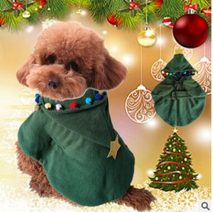 Christmas Tree Dog Cloak Christmas Dog Costumes Winter Warm Polar Fleece Pet Puppy Coat Xmas Dog Green Hoodie Clothing
