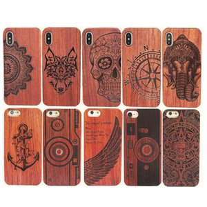 Retro Genuino tallado de madera TPU Case para Iphone X 6 7 8 Caja de madera del teléfono para Iphone 7 Plus Bamboo Vivienda de lujo S9 S8 S7