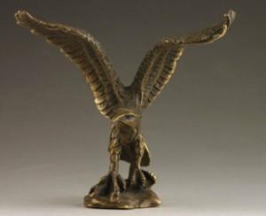 Délicat Chinois Collectable À La Main Vieille Sculpture En Bronze Vif Statue Aigle
