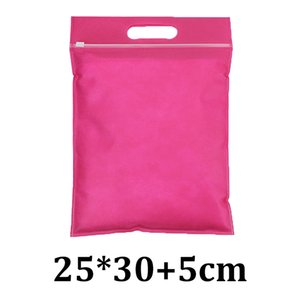 25 cm * 30 cm 25x30 cm rose red respirável não tecido tote lidar com slider ziplock slider sacos de vestuário para ternos
