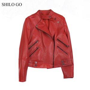 جاكيتات المرأة شيلو الذهاب سترة جلدية إمرأة الربيع الأزياء جلد الغنم معطف حقيقي الوقوف طوق الجبهة سستة قاطرة حمراء