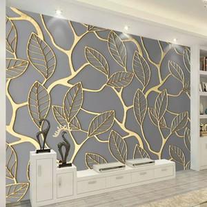 Duvarlar Için özel Fotoğraf Duvar Kağıdı 3D Stereoskopik Altın Ağaç Yaprakları Oturma Odası TV Arka Plan Duvar Duvar Yaratıcı Duvar Kağıdı 3D