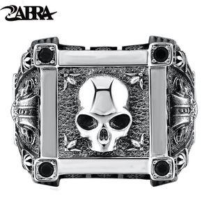 ZABRA Einstellbare Größe 925 Sterling Silber Schädel Ringe Für Männer Zirkon Ring Vintage Puck Rock Biker Schmuck D18111405