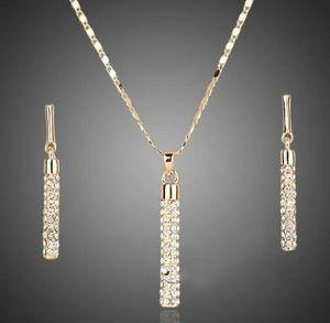 18K الذهب مطلي أقراط الماس قلادة قلادة مجموعات المجوهرات العلامة التجارية عنصر الأزياء حجر الراين تعيين لحفل زفاف المرأة