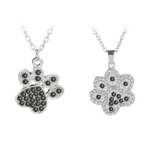 Cat e Dog Paw Print Collana Crystal Rhinestone Pendant Collane Pawprint Jewelry Animal Lover Gift Pet Memorial Love My Pet