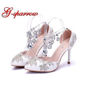 Weiß Spitz Hochzeit Formale Kleid Schuhe mit Silber Strass Knöchelriemen Stiletto High Heels Performance Tanzschuhe