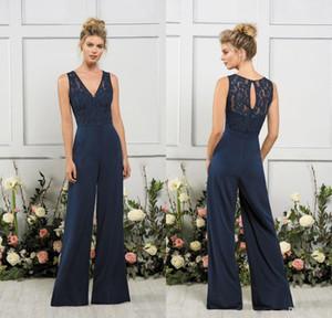 2020 Jamás de jazmínes Damas de honor Vestidos en V cuello Dark Navy Maid of Honor Vestidos Playa Boda barata Vestido de fiesta Vestidos de Novia