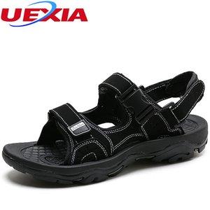 Sandalias para hombre de cuero del verano de la playa de Pisos hombres zapatos de costura hecha a mano Caminar sobre el agua y transpirable de cuero de vaca de alta calidad