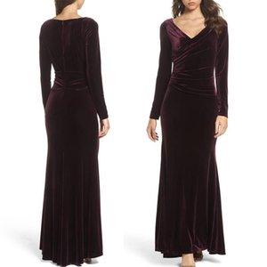 Elegant Long Sleeves Mermaid Mother Dresses Sexy V-neckline Purple Floor Length Sheath Mother Of The Bride Dresses Formal Dresses