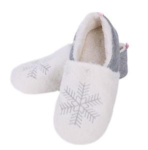 숙녀 겨울 눈송이 코튼 슬리퍼 여자 홈 부드러운 봉제 따뜻한 캐주얼 신발 크리스마스 눈송이 커버 뒤꿈치 따뜻한 슬리퍼 편안한 슬리퍼